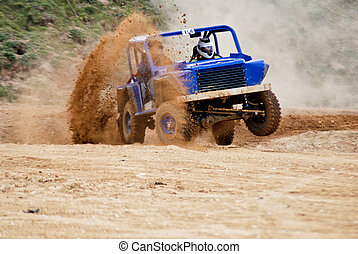 Rally 4x4 in the dust - Rally car speeding through the dusty...