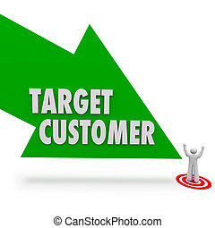 Target Customer Green Arrow Pointing Prospect Person