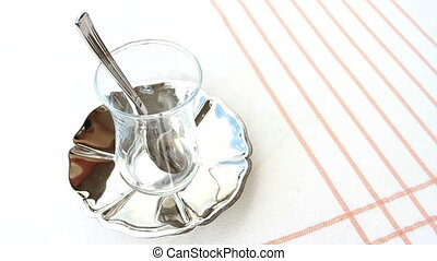 Serving Turkish Tea - Turkish Tea served from traditional 2...