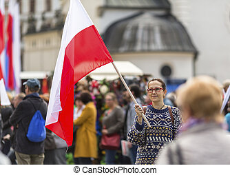 woman with the Polish flag - Young woman with the Polish...