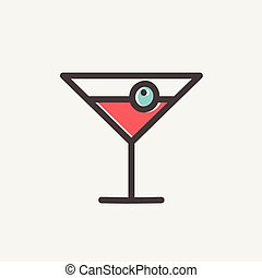 Cocktail drink with cherry thin line icon - Cocktail drink...