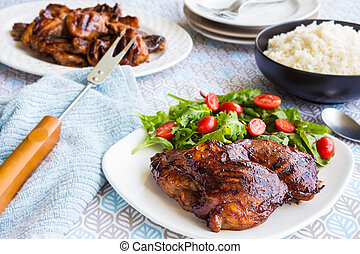 Hawaiian Guava Chicken - Grilled boneless chicken thighs...
