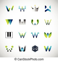 Icons design based on the letter W