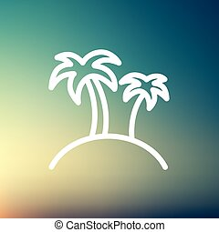 Two palm trees thin line icon - Two palm trees icon thin...