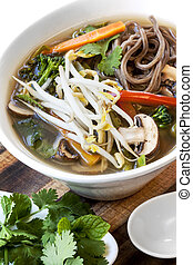 Hot and Sour Vegetable Soup with Soba Noodles and Bean Sprouts
