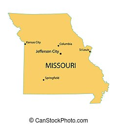 yellow map of Missouri with indication of largest cities