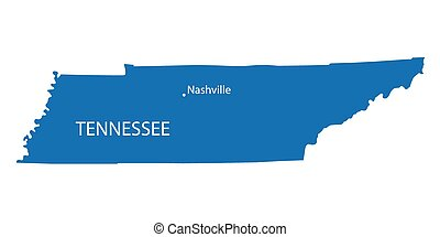 blue map of Tennessee with indication of Nashville