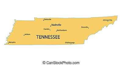 yellow map of Tennessee with indication of largest cities
