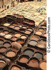 Fez Tannery in Morocco with Vats for Dying Leather