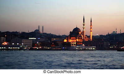 Istanbul Valide Sultan Mosque on dusk