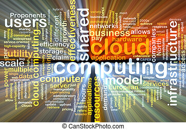 cloud computing wordcloud concept illustration glowing