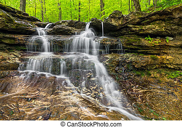 Small Indiana Waterfall - This small waterfall flows over...
