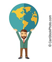 Businessman carrying big globe. - A businessman carrying big...