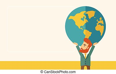Businessman carrying big globe.