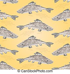 Seamless texture trout vintage vector.eps - Seamless texture...