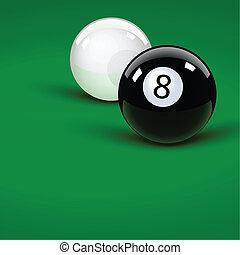 Pool balls - Glossy pool balls on the green velvet