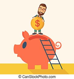 Big piggy bank with ladder - A young man saving his money by...