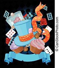 Wonderland cupcake background - Wonderland top hat and...