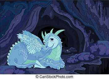Lady Dragon - Illustration of a lady dragon on fairy cave...