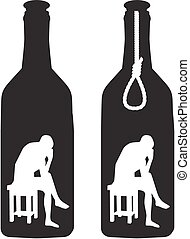 alcoholism - silhouette of a man in a bottle and rope loop