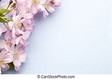Tree cherry. - Cherry blossoms on a wooden background....