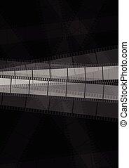Dark monochrome filmstrip abstract background