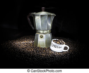 Old coffeepot with cup and coffee beans - Old coffeepot with...