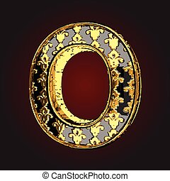 o vector black letter with gold