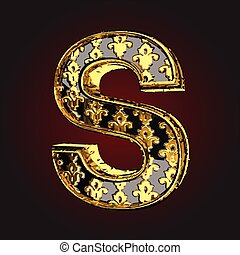 s vector black letter with gold