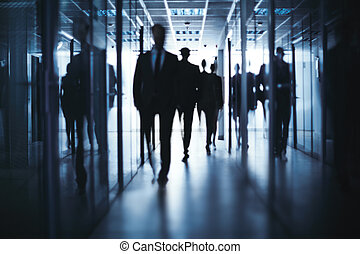 Business people walking - Silhouettes of business people...