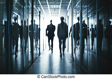 Business people in corridor - Several business people...