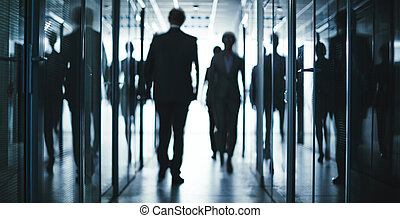 Business walk - Several employees going inside office...