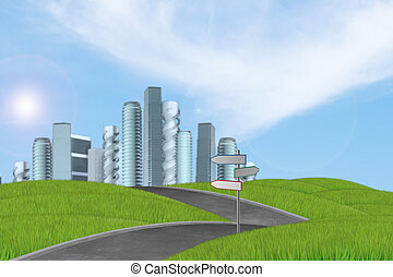 New high-rise buildings illustration with park