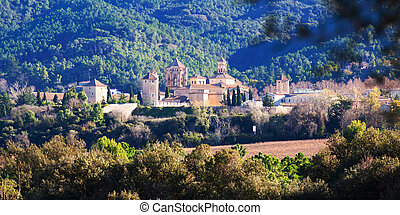 Royal Abbey of Santa Maria de Poblet Catalonia, Spain - Day...