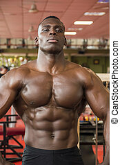 Attractive hunky black male bodybuilder in gym - Attractive...
