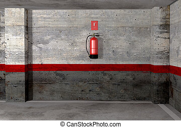 fire extinguisher - 3d rendering of a fire extinguisher on a...