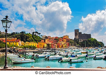 Lerici, harbor and village Cinque terre, Ligury Italy -...