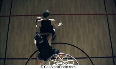Off the Dribble - Slow motion of basketball player control...