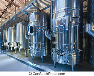 winery with  stell barrels