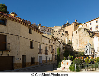 Picturesque narrow street in Chinchilla de Monte-Aragon -...
