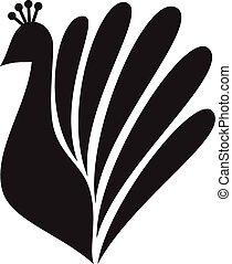Stylized silhouette of a peacock on white background
