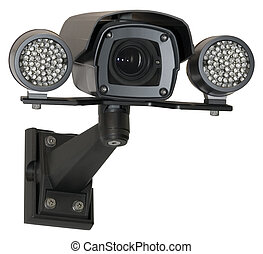 Security camera - Infra red security black camera isolated...