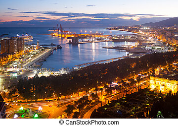 Malaga with Port from castle.  Spain