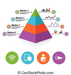 Wifi and chat bubbles Add user, megaphone - Pyramid chart...