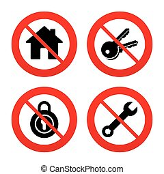 Home key icon. Wrench service tool symbol. - No, Ban or Stop...