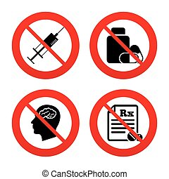 Medicine icons. Tablets bottle, brain, Rx. - No, Ban or Stop...