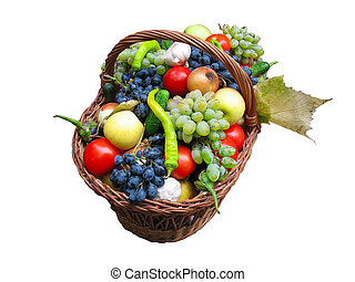 Harvest fruits and vegetables in a wooden box isolater