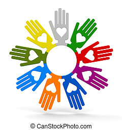 Hands with love in the circle - Happy volunteering hands...