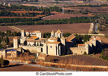 General view of Poblet Monastery in winter Catalonia