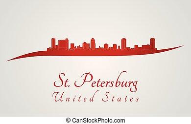 St. Petersburg skyline in red